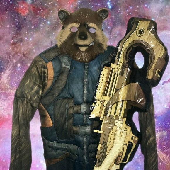 Rocket Guardians of the galaxy costume w/ toy gun